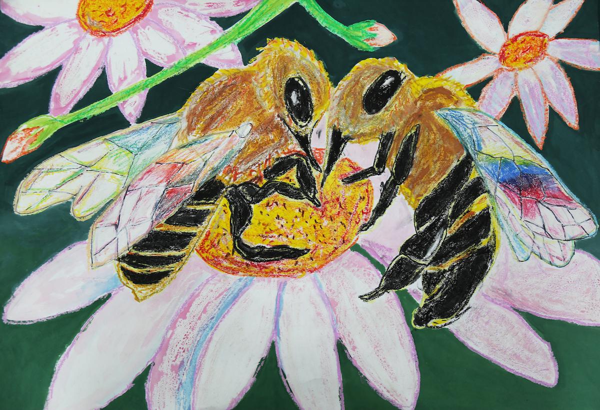 ミツバチと花